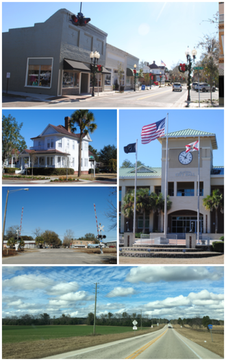 Alachua, Florida - Top, left to right: Downtown Alachua, Pearce-Bishop historic house in the City of Alachua Downtown Historic District, railroad crossing near downtown Alachua, Alachua City Hall, Florida State Road 235