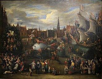 Alexander van Bredael - The Ommegang at the Meir in Antwerp