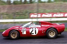 Alfa Romeo Tipo 33 / 2 during training on the 1000-km race at the Nürburgring 1967.