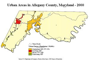 Allegany County, Maryland - Image: Allegany County Urban Areas