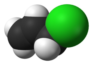 Allyl chloride - Image: Allyl chloride 3D vd W