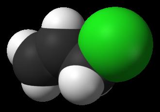 Allyl chloride - Image: Allyl chloride 3D vd W