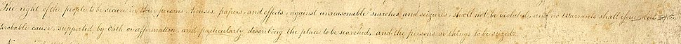 The hand-written copy of the proposed Bill of Rights, 1789, cropped to just show the text that would later be ratified as the Fourth Amendment