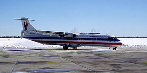 Joplin Regional Airport - An American Eagle (Executive Airlines) ATR-72 arrives operating American's inaugural flight to Joplin (2011)