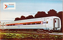 A postcard depiction of a silver tubular railcar