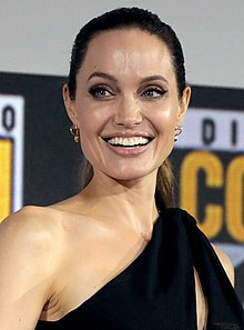 Angelina Jolie is looking away from the camera.
