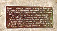 shakespeare epitaph