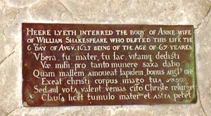 Anne Hathaway (wife of Shakespeare) - Inscribed brass on Anne Shakespeare's tombstone in the Church of the Holy Trinity, Stratford-upon-Avon