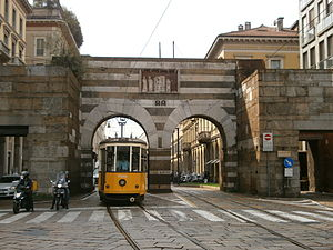 Porta Nuova, Gate of Milan - The external facade of Porta Nuova medieval city gate.