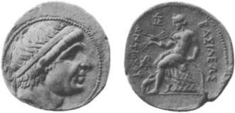 Basileus - A silver coin of the Seleucid king Antiochus I Soter. The reverse shows Apollo seated on an omphalos. The Greek inscription reads ΒΑΣΙΛΕΩΣ ΑΝΤΙΟΧΟΥ (of the king Antiochus).