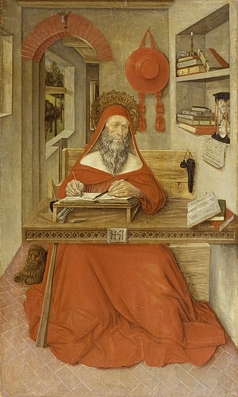 Saint Jerome in His Study, 1451, by Antonio da Fabriano II, shows writing implements, scrolls, and manuscripts testifying to Jerome's scholarly pursuits. The Walters Art Museum. Antonio da Fabriano II - Saint Jerome in His Study - Walters 37439.jpg
