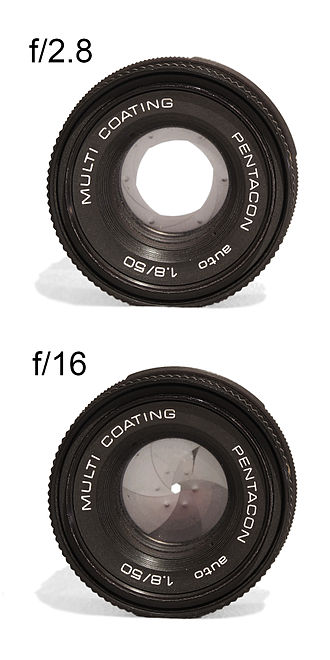 Aperture - A large (f/2.8) and a small (f/16) aperture