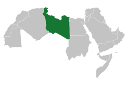 "The short-lived ""Arab Islamic Republic"" (green) within the Arab League (grey)."