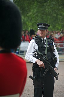Authorised firearms officer A British police officer armed with a firearm