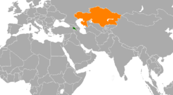 Map indicating locations of Armenia and Kazakhstan