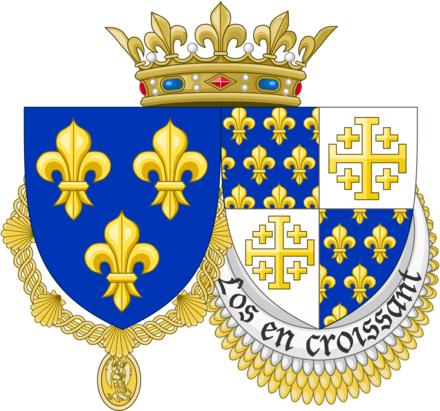 Coat of arms of Charles VIII, showing France Moderne and France Ancient quartered with Jerusalem cross, representing Charles's claim to the Kingdom of Jerusalem Armes charles 8 france et naples.png