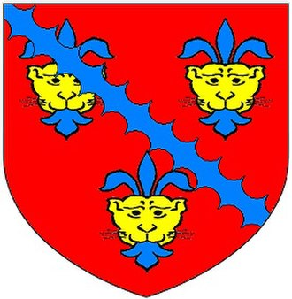 "Alveston - Arms of Denys: ""Gules, 3 leopard's faces or jessant-de-lys azure over all a bend engrailled azure"""