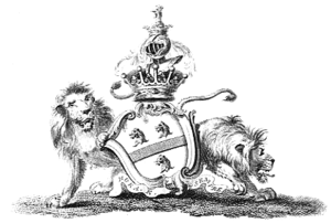 Earl of Pomfret - Arms of Fermor: Argent, a fess sable between three lions' heads erased gules