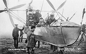 Neville Usborne - Usborne in the gondola of the airship ''Beta II'', 1913