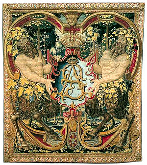 Polish Golden Age - Tapestry with shield-bearing satyrs and monogram SA of king Sigismund Augustus, ca. 1555