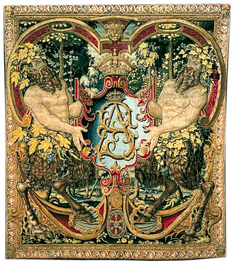 "Wawel Castle - Gobelin tapestries, such as this one with monogram ""SA"" of King Sigismund Augustus of Poland, Brussels, c. 1555, were part of famous Jagiellonian tapestries, also known as the Wawel Tapestries or Wawel Arrases."