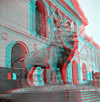 Edward Kemeys - Image: Art Institute of Chicago Lion Statue (anaglyph stereo)
