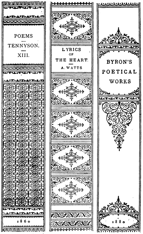 Line drawings of three book spines: 1) Poems; Tennyson.; XIII; 1860; 2) Lyrics of the Heart; A. Watts; 3) Byron's Poetical Works; 1880