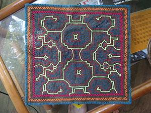 Shipibo-Conibo people - Traditional embroidering. Shipibo-Conibo tribe.