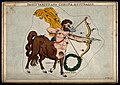 Astrology; signs of the zodiac, Sagittarius. Coloured engrav Wellcome V0024928.jpg