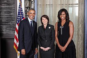 Atifete Jahjaga - President Jahjaga meets U.S. President Barack Obama and First Lady Michelle Obama