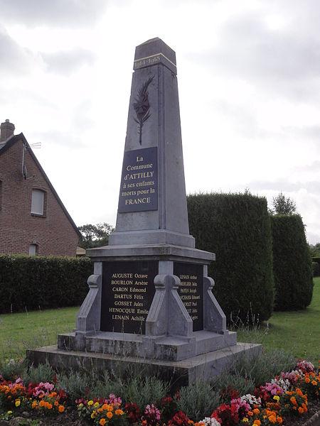 Attilly (Aisne) monument aux morts