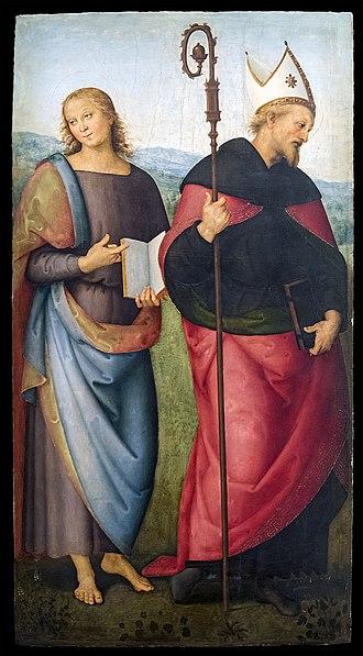 Musée des Augustins - Image: Augustins Saint Jean l'Évangéliste et saint Augustin par il Perugino 2004 1 25
