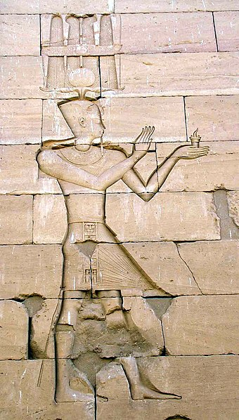 Augustus in an Egyptian-style depiction, a stone carving of the Kalabsha Temple in Nubia Augustus-in-Kalabsha.jpg