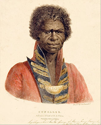 Aboriginal Breastplate - Bungaree, A Native Chief of N.S. Wales painted by Augustus Earle
