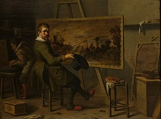 Self-portrait of Joost Cornelisz. Droochsloot in his atelier