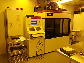Stepper - An i-line stepper at Cornell NanoScale Science and Technology Facility.  (Photo taken under inactinic light.)