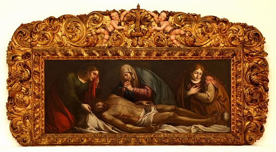 The dead Christ with the Virgin, John the Evangelist and Mary Magdalene. Unknown painter of the 18th century Aveiro March 2012-1a.jpg