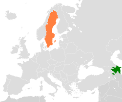 Map indicating locations of Azerbaijan and Sweden