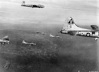 RAF Podington - B-17s of the 92d Bomb Group on a mission over Nazi Occupied Europe. Visible is Lockheed/Vega B-17G-70-VE Flying Fortress Serial 44-8579