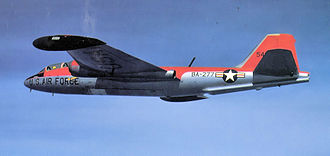 Aerospace Defense Command - B-57E, AF Ser. No. 55-4277, a target towing aircraft of the 8th Bomb Squadron at Yokota AB, Japan in 1958. Note the bright orange paint on the upper fuselage and wings