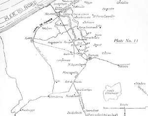 Fort Knokke - On this World War I era map, Fort de Knocke is shown at the confluence of the Yser and the Canal de Yser à Ypres. Note its relationship to Dixmude, Furnes and Nieuport.
