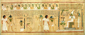 Divine judgment - Anubis conducts Hunefer to judgment, where his heart will be weighed against the feather of truth; the fourteen gods above sit in order of judgment, with the underworld ruler Osiris, flanked by Isis and Nephthys, to the right, and the monstrous Ammit waiting next to the scales to devour the souls of those whose hearts are heavier than the feather