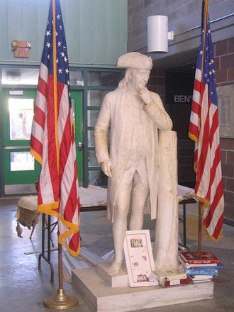 Benjamin Franklin High School (New Orleans) - A marble statue of Benjamin Franklin stands in the atrium. The statue was commissioned in 1844 and has been with the school since 1959.