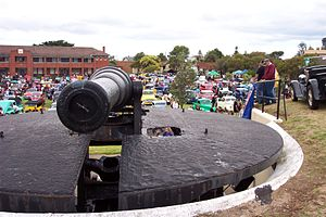 Fort Queenscliff - The restored BL 8 inch gun, taken during a car show on the parade ground