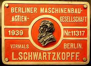 Berliner Maschinenbau - Company plate on a steam locomotive