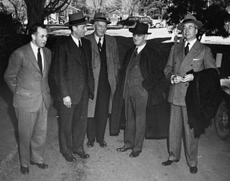Robert Bacher - The five Atomic Energy Commissioners at Los Alamos. Left to right: Bacher, David E. Lilienthal, Sumner Pike, William W. Waymack and Lewis L. Strauss