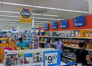 Back to school (marketing) - Image: Back to school sale at Wal Mart, Newburgh, NY