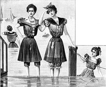 632862fa8caa8 Badeanzüge im Marinestil, 1898
