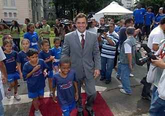Human rights in Brazil - The governor of Minas Gerais, Aécio Neves, during the Campaign Protect Our Children.