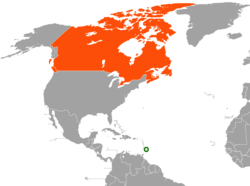 Map indicating locations of Barbados and Canada